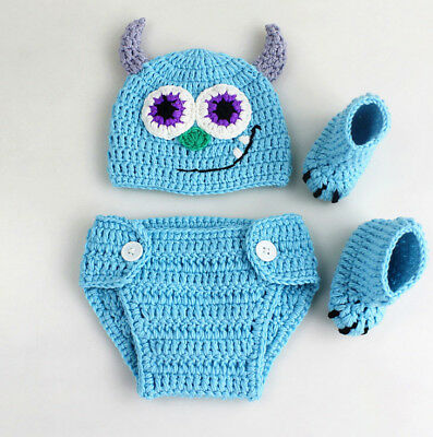 Neugeborene Baby Strick Fotoshooting Fotografie Monsters Inc Sully Kostüm