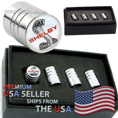Ford Mustang Shelby GT Logo Valve Stem Caps Chrome Tire Kit Wheels Cars Cobra - Leaking Valve Stem
