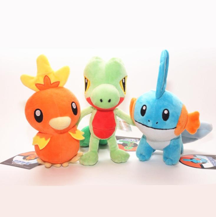 3PCS Pokemon Center Torchic Treecko Mudkip Pokedoll 8/'/' Stuffed Plush Kids Gift