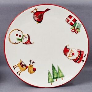Christmas Tableware Ceramic Santa & Friends Set of 2 Plates Side Plate NEW