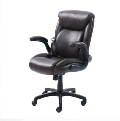 New Computer Desk Chair Executive Office Chair Leather With Memory Foam Brown
