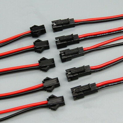 10 Sets 2.54mm Sm 2-pin 2p Connector Plug Male Female With 20cm Wires Cables