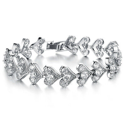 - Super Twinkling Heart Chain Top Class AAA Cubic Zirconia Tennis Bracelet