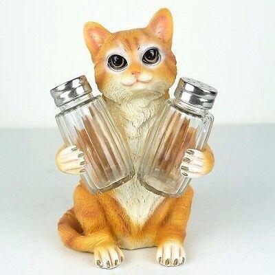 "Salt & Pepper Shaker Cat Orange Tabby Figurine Miniature 7""H New"