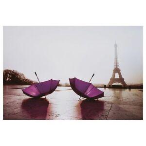 Cadre toile canevas Paris parapluie mauve tour eiffel umbrella
