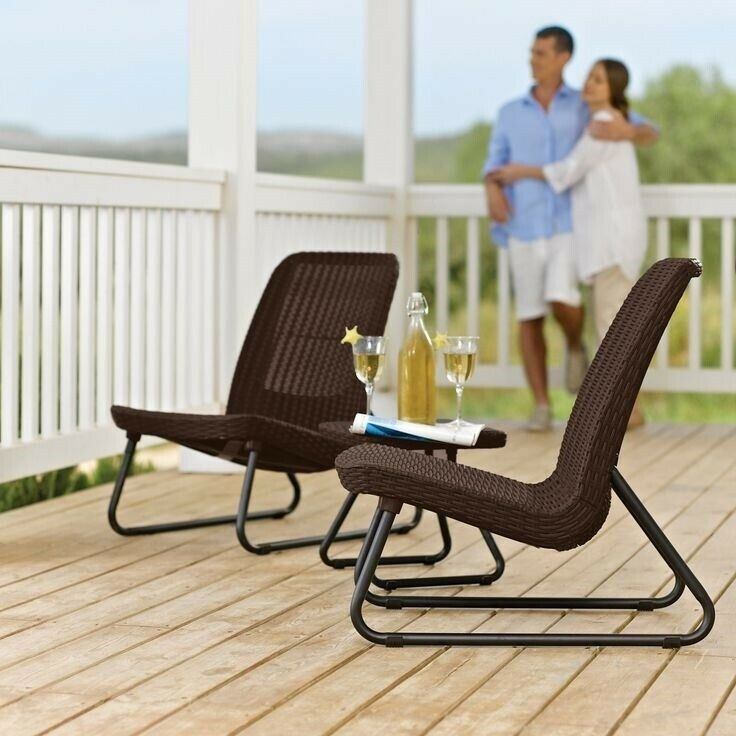 Garden Furniture - Outdoor Patio Set Bistro Furniture Chairs Table Dining Lounge Garden 3 Pc Rattan