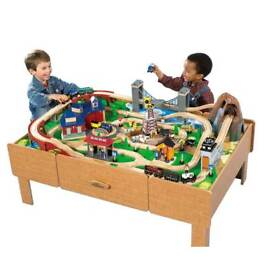 Play table with train and tracks