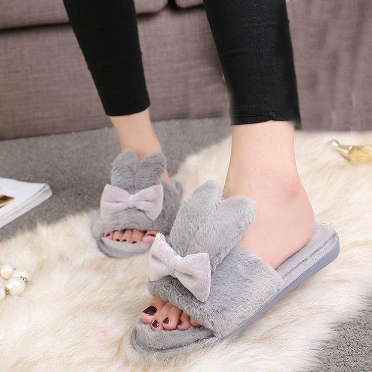 Winter Womens Indoor Home Shoes Faux Fur Warm Slippers Concise Cute Rabbit Head