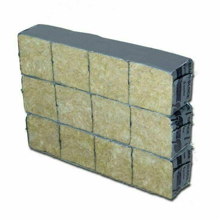 "Grodan Delta Mini Blocks 2"" Rockwool Starter Cubes 12 Wrapped Cubes"