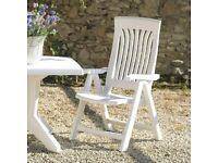 6 Flora Folding Dining Arm Chair - White Garden Chairs by Nardi