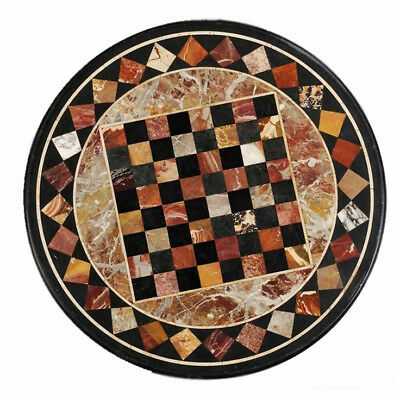 Marble Round Chess Table Top Inlaid Marquetry Work Handicrafts