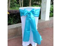 50 Aqua Satin Chair Sashes - only used once
