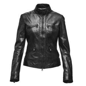 BRAND NEW WOMANS BLACK LEATHER JACKET M0851 STAND COLLAR AT$650