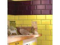 Metro Brick Gloss Trendy Yellow 10cm x 20cm Wall Tile