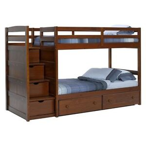 Wood Bunk Bed with Drawers
