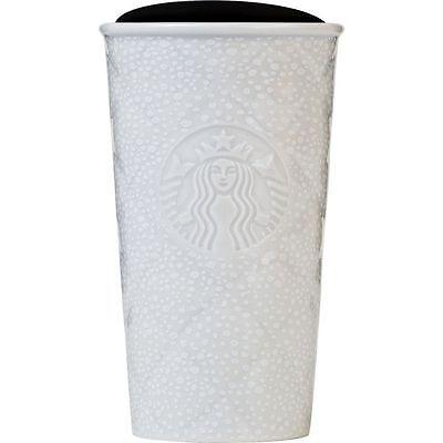 STARBUCKS Quilted Silver White Snow Ceramic Tumbler Mug Siren Double Wall 2016