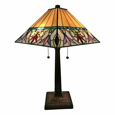 Mission Stained Glass Tiffany Style Table Lamp Desk Art Deco Victorian (Mission Stained Glass Table Lamp)