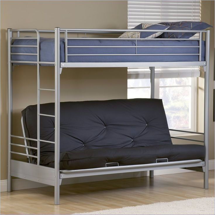 Silver Bunk Bed Frame With Double Futon