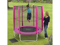 PLUM 6 FOOT PINK KIDS TRAMPOLINE. BRAND NEW IN BOX 6FT WITH SAFETY ENCLOSURE!