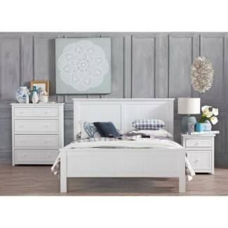 Domayne White Timber Double Bed