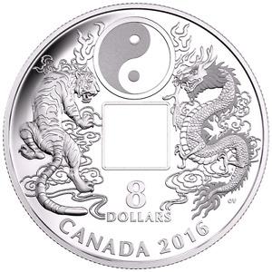 2016 TIGER & DRAGON Yin & Yang SILVER COIN-CANADA-MINT!!!