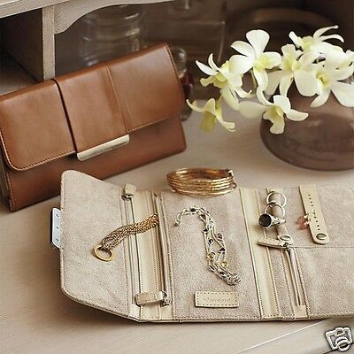 Blue Leather Jewelry Roll Travel Case Anti Tarnish Red Envelope Co Gift New  90