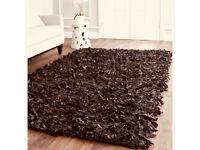Stunning designer brown leather shaggy rug 170 x 120 cm