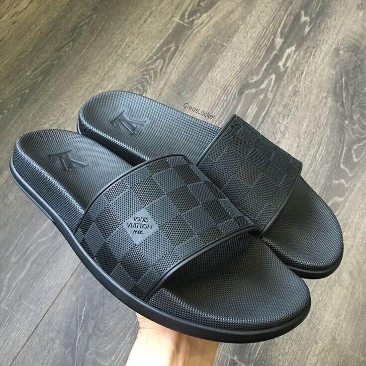 f6215c368e3527 Louis Vuitton black damier sliders sandals shoes men s 43   9