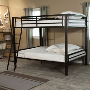 free black metal frame bunk bed with double bed on bottom