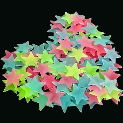 100X 3D Stars Glow In The Dark Wall Stickers For Kids Bedroom Ceiling Home