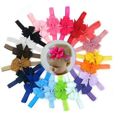 20pcs Elastic Baby Headdress Kids Hair Band Girls Bow Newborn Headband Ribbon