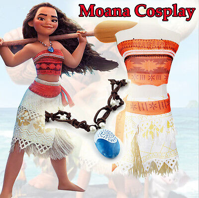 Girl Women Moana Cosplay Costume Movie Polynesia Princess Dress Necklace Outfit