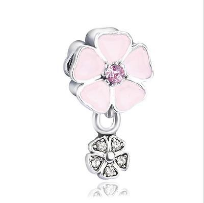 1Pc White Crystal Pink Flower Charm Silver Bead Fit European Bracelet & Necklace