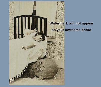 Scary Vintage Creepy Monster Child Scare PHOTO Costume Bedroom Goblin Halloween (Scary Vintage Halloween Photos)