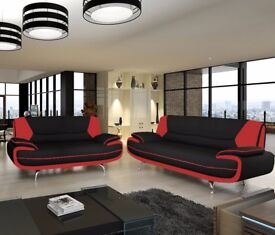 CAROL modern quality sofa in 3 colours available: BLACK/WHITE, BLACK/RED, SILVER/WHITE pu leather