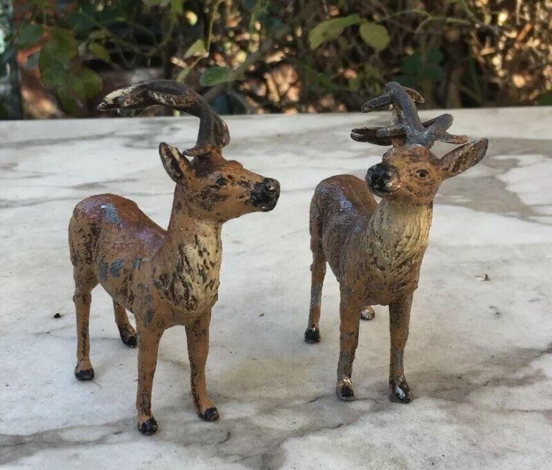 2 German Metal Lead PUTZ Reindeer Christmas Ornament VTG LOT Germany DEER Rare