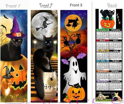 3 Set-HALLOWEEN CATS 2019 CALENDAR BOOKMARK Cat Witch Black Spooky Bat Book Card (Spooky Halloween Bookmarks)