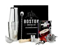 Andrew James Luxury Boston 10 Piece Cocktail Party Drink Set + Book + Gift Box. Christmas Present