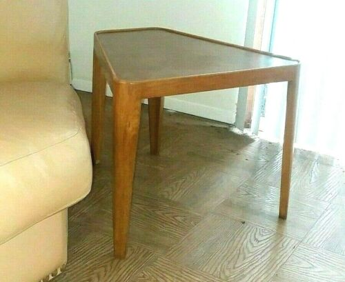Ed Wormley DUNBAR Wedge Table Leather Top Bleached Mahogany MId Century Modern