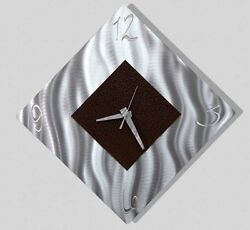 ULTRA MODERN Metal Wall Clock Art Modern Abstract Silver Black SIGNED Jon Allen