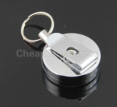New Heavy Duty Retractable Key Reel Badge ID Card Holder Belt Clip Keyring ty Retractable Badge-id Clip