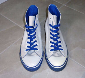Converse Chuck Taylor Hi Top White Shoes with Blue Laces