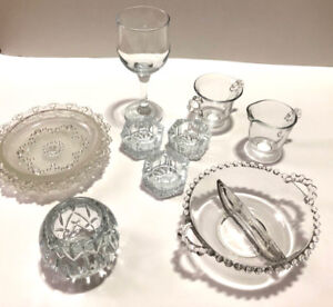 9 Crystal Glass Pieces ($2 & Up) - Dishes, Candle Holders, etc