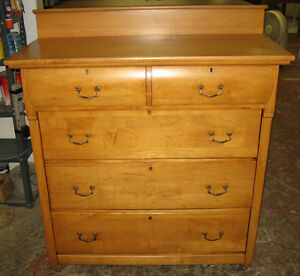 Antique maple high boy dresser