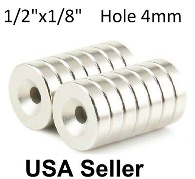 50 100 Strong Countersunk Ring Magnets 12 X 18 Hole 4mm Rare Earth Neodymium