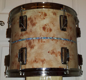 Custom Mahogany Drums with Figured Ash/Abalone Inlay Finish