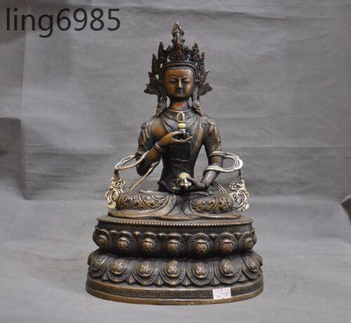 "15""Tibet buddhism bronze silver Tara Goddess Kwan-Yin Vajrasattva Buddha Statue"