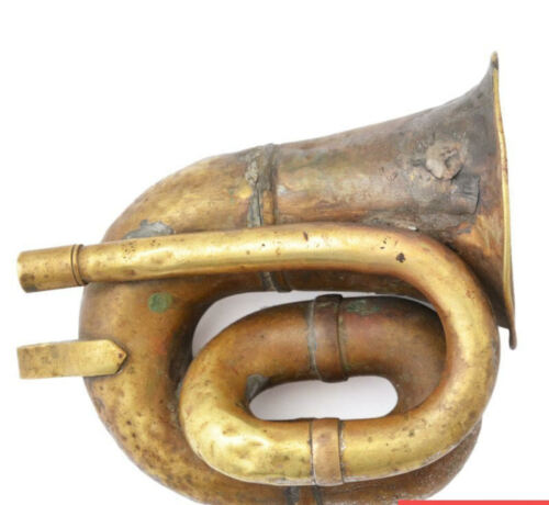 ANTIQUE SMALL BRASS BUGLE HORN  - CAVALRY STYLE ARMY MILITARY ANZAC THEATRE