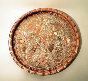 VINTAGE HAND ETCHED SOLID COPPER TRAY