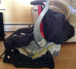 Infant car seat, base and covers
